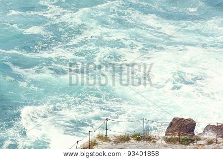 Waves hitting cliff in Ireland
