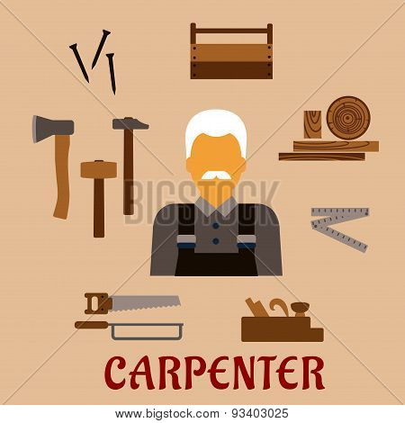 Carpenter with timber and professional tools