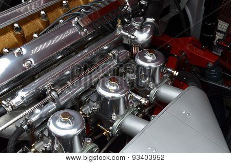 Classic inline car carburetors.