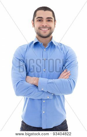 Arabic Business Man In Blue Shirt Isolated On White