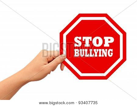 Stop bullying sign isolated on white background poster
