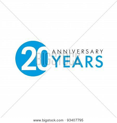 20 years old round logo. Anniversary year of 20 th vector banner numbers. Birthday greetings circle celebrates. Celebrating digits. Colored figures of ages.