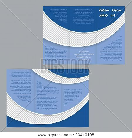 Tri-fold Flyer Brochure Template With Blue Waves