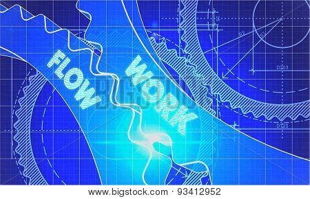 Work Flow Concept. Blueprint of Gears.
