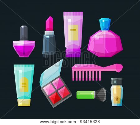 cosmetic a set of colored icons. Collection of elements - nail polish, lipstick, body cream, conceal