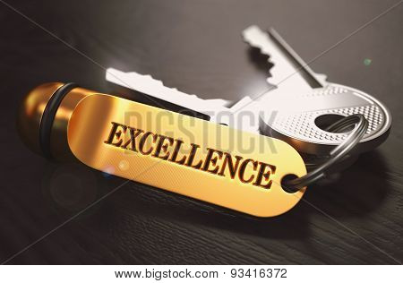 Keys to Excellence. Concept on Golden Keychain.