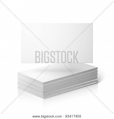 Blank vector business cards template isolated on white background with reflection.