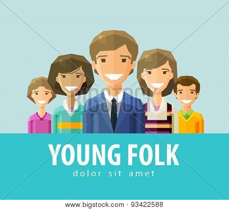 people, young folk  vector logo design template. society, company, community, association, instituti