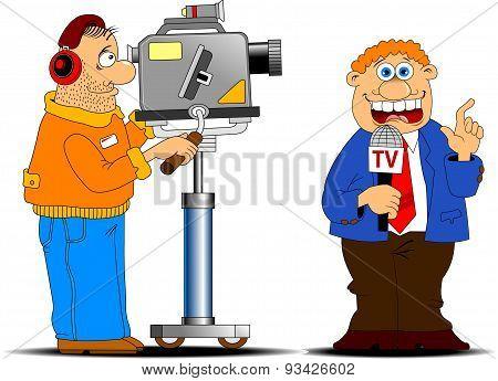 Cameraman And Journalis.eps