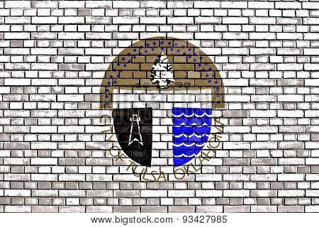 Flag Of Tulsa Painted On Brick Wall