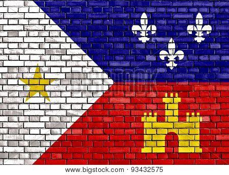 Flag Of Acadiana Painted On Brick Wall