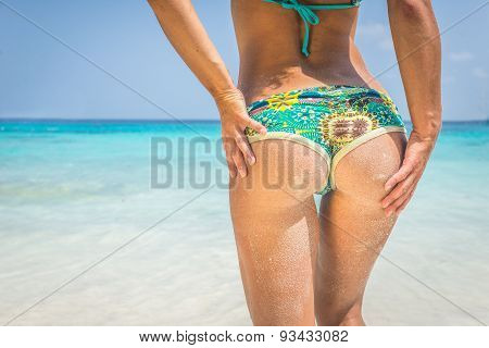 Beautiful Woman Buttock On Tropical Beach