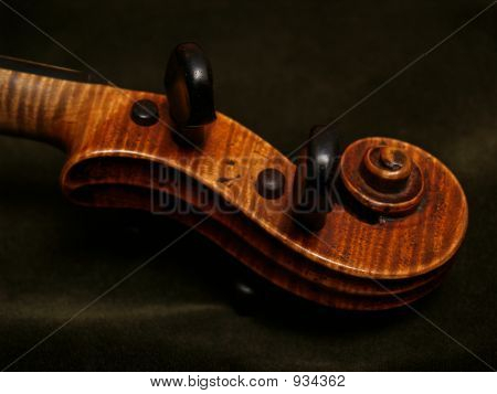 Violin Scroll Detail On Green Velvet