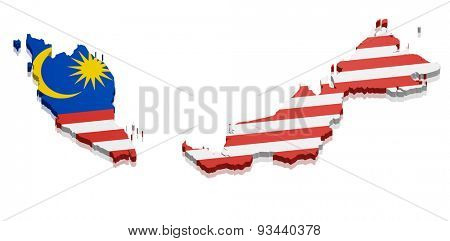 detailed illustration of a map of Malaysia with flag, eps10 vector