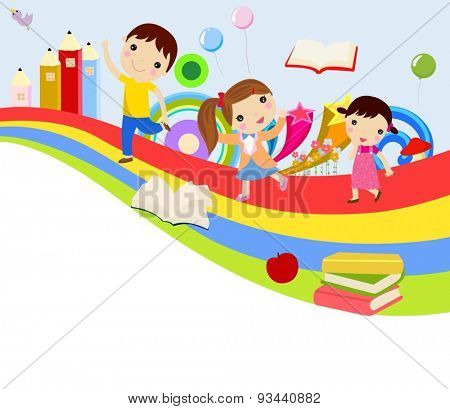 Vector illustration of cute group of children and rainbow