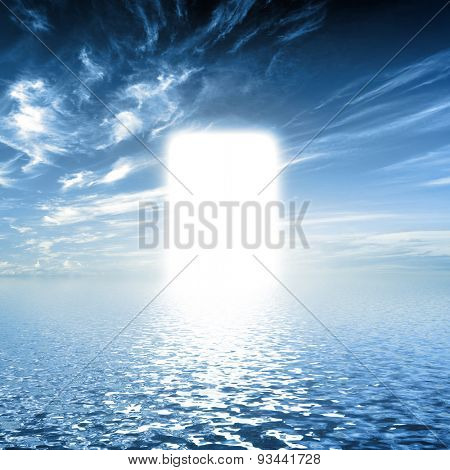 poster of Gate to paradise, way on water towards light, new world. Concepts for religion, God, hope, faith.