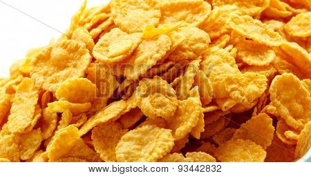 Children's breakfast:  heap of cornflakes on plate poster