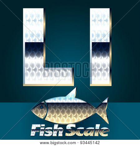 Vector set of fish scale font. Letter L