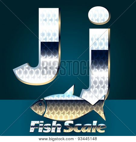 Vector set of fish scale font. Letter J