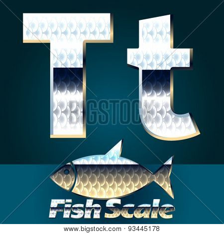 Vector set of fish scale font. Letter T