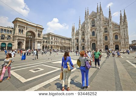 Tourists At The Duomo Cathedral From Milan, Italy