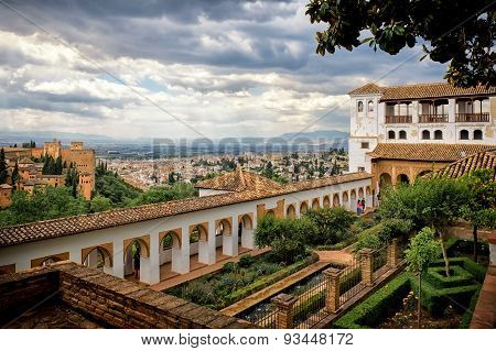 View Of Alhambra And  Granada From The Palace Of Generalife