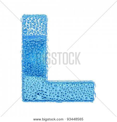 Fresh Blue alphabet symbol - letter L. Water splashes and drops on transparent glass. Isolated on white