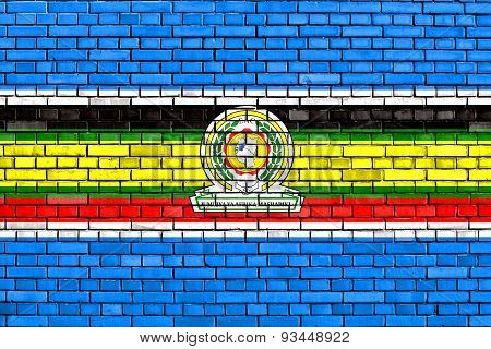 Flag Of Eac Painted On Brick Wall