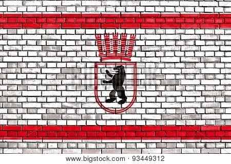 Flag Of East Berlin Painted On Brick Wall