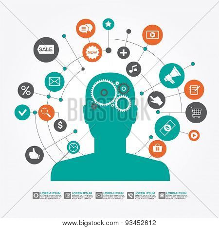 Marketing  promotion concept. Businessman surrounded by  interface icons. File is saved in AI10 EPS version. This illustration contains a transparency