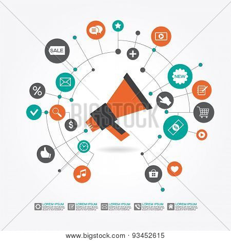 Marketing  promotion concept. Megaphone surrounded by  interface icons. File is saved in AI10 EPS version. This illustration contains a transparency