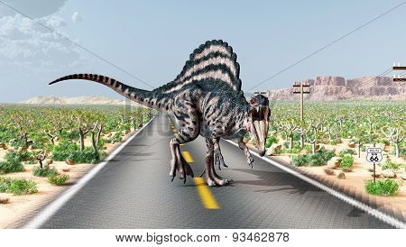 Computer generated 3D illustration with the dinosaur Spinosaurus on the Route 66 in the USA poster