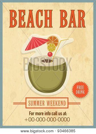 Vintage Beach Bar template, banner or flyer design for summer weekend.