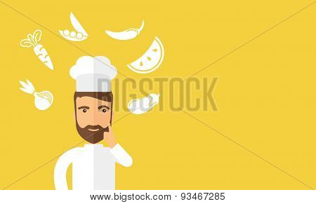A caucasian worker trying to cook for dinner in his kitchen while looking at the cook book as his guide. Learning concept. A Contemporary style with pastel palette, soft beige tinted background