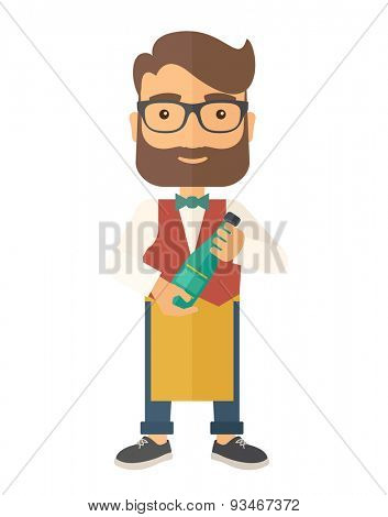 A wine maker standing wearing his apron holding a bottle of wine. . A Contemporary style. Vector flat design illustration isolated white background. Vertical layout.