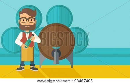 A wine maker standing wearing his apron holding a bottle of wine inspecting from barrel inside the wine storage room. A contemporary style with pastel palette dark blue tinted background. Vector flat