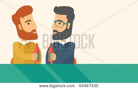 A two hipster co-workers from office to pub having fun drinking beer just to relax and stress free. A Contemporary style with pastel palette, soft beige tinted background. Vector flat design