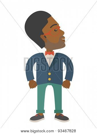 An african-american businessman standing looking up. Successful business concept. . A Contemporary style. Vector flat design illustration isolated white background. Vertical layout