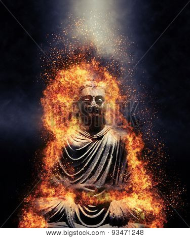 Statue of a seated Buddha engulfed in flames lit from above by a beam of light shining through the darkness in a conceptual image