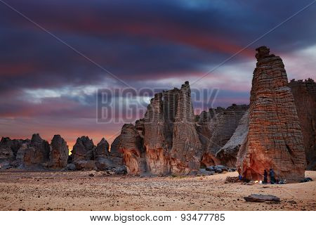 Sunset in Sahara Desert, Tassili N'Ajjer, Tin Tazarift area, Algeria