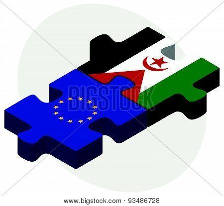 European Union And Western Sahara Flags