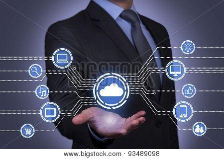 Cloud Computing on Businessman Hand