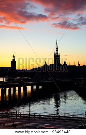 Silhouette of Old Town of Stockholm, Sweden
