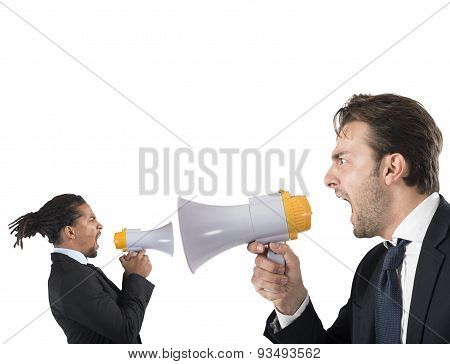 Employee tries to thwart his boss screaming poster
