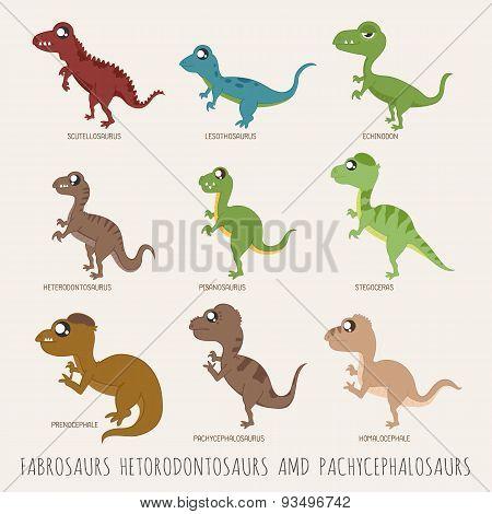 Set Of Fabrosaurs Hetodontosaurs Pachycephalosaurs Dinosaurs