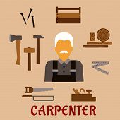 Carpenter profession flat concept with moustached man in overalls, timber and carpentry tools including hammers, axe, nails, wooden toolbox, handsaw, hacksaw, folding rule, jack plane poster