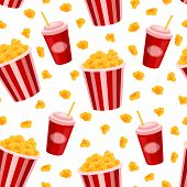 Popcorn and soda vector seamless pattern. cinema background poster