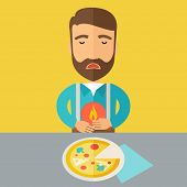A sick man has a stomach burn or Abdominal pain after he ate a slice of pizza. A Contemporary style with pastel palette, a yellow tinted background. Vector flat design illustration. Square layout. poster