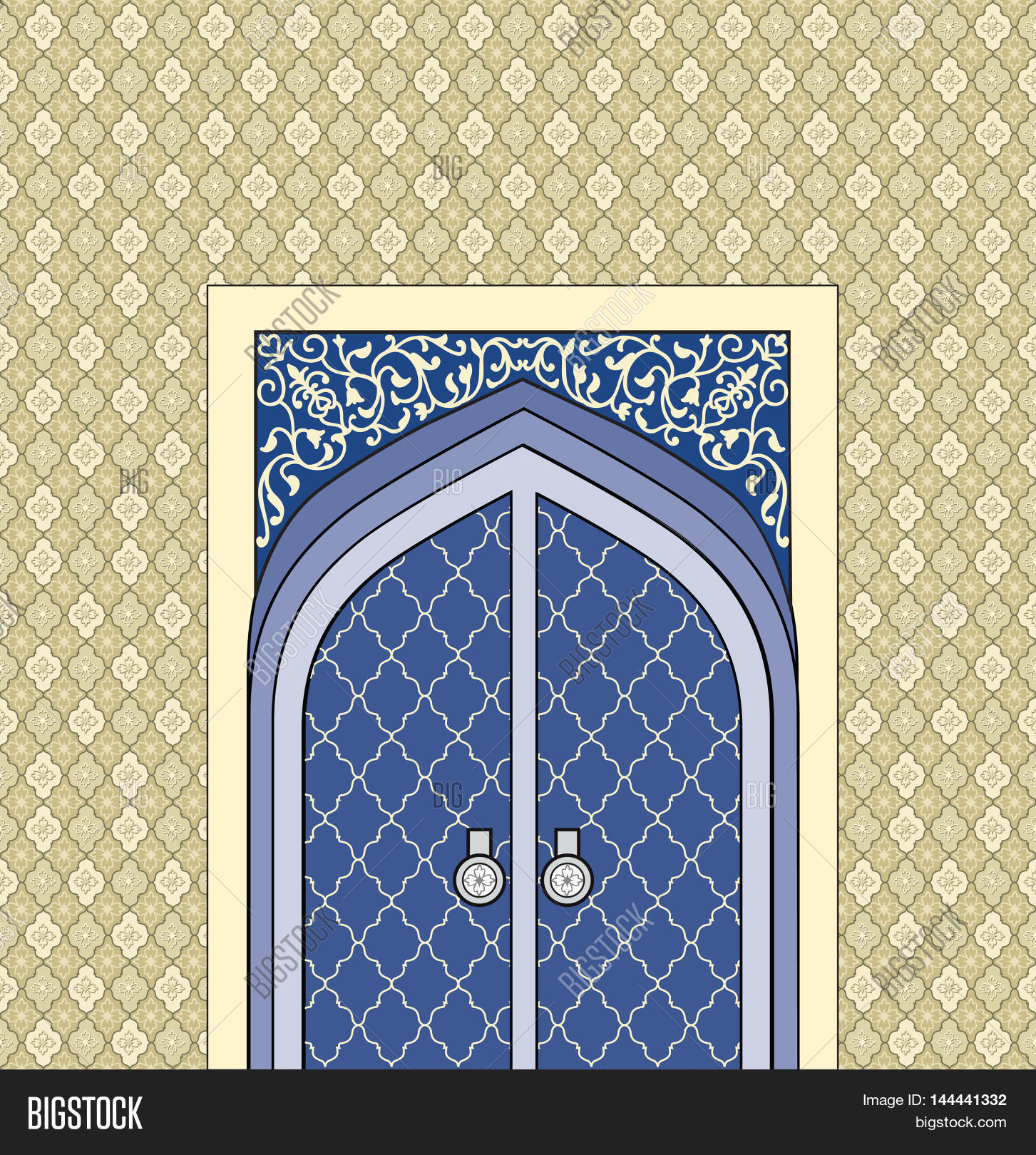 Door Way In Arabic Architectural Style. Islamic Design Mosque Door For  Greeting Background. Orienta