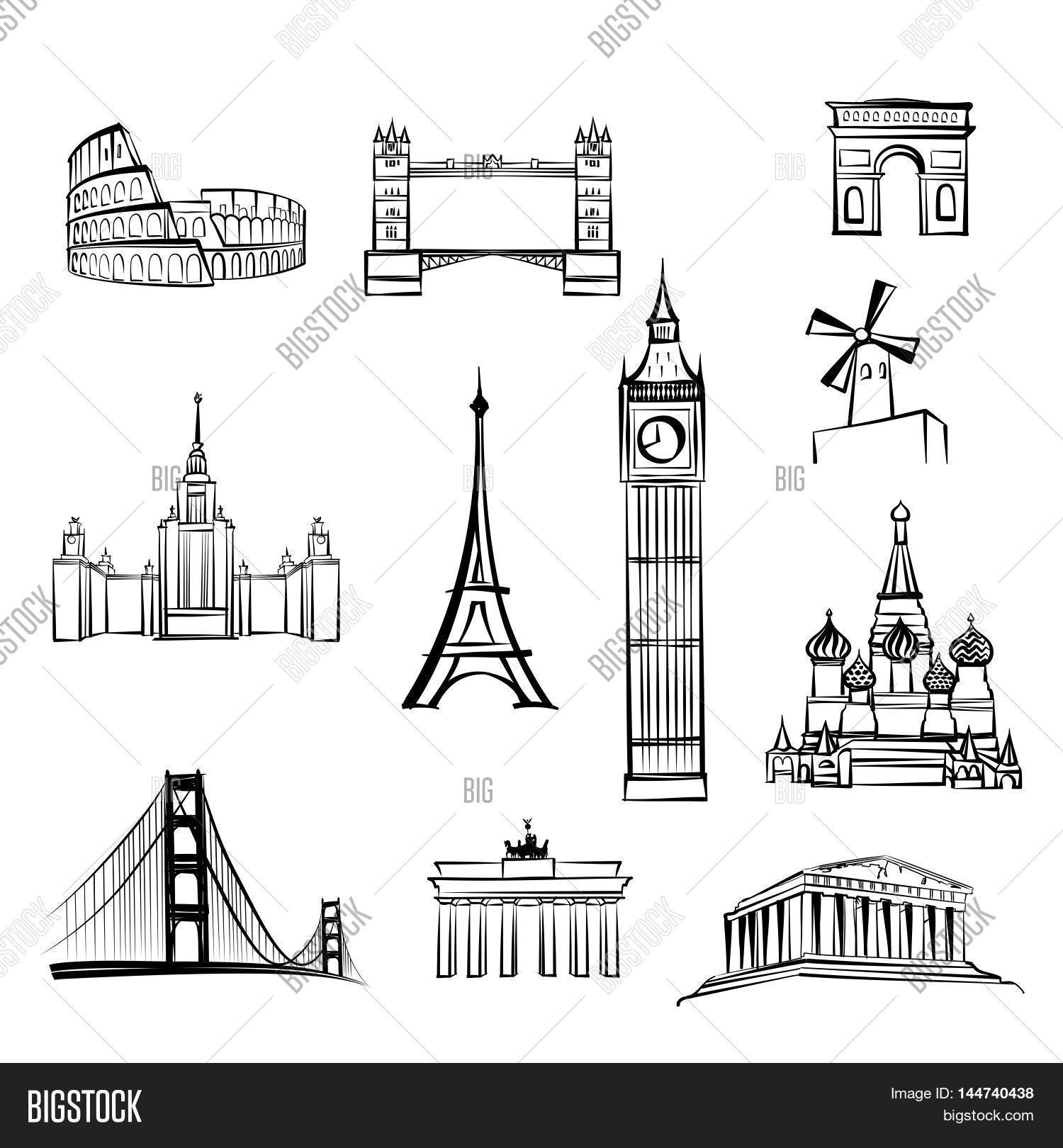 World Tourist Attractions Symbols Vector Photo Bigstock